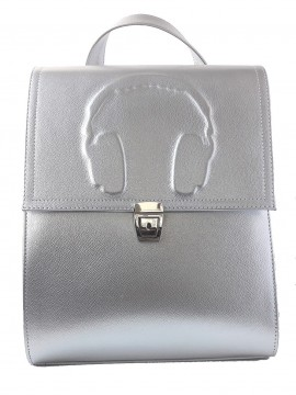 Rucsac din piele Headphones Silver