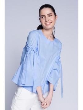 Bluza bleu cu maneci evazate - designeri romani