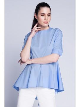 Bluza bleu cu falduri la spate  - designeri romani