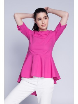 Bluza fuchsia cu falduri la spate  - designeri romani