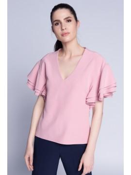 Bluza cu volane roz pudra - designeri romani