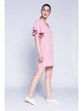Rochie roz pudra cu volane