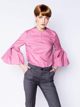 Camasa roz cu maneci evazate - MOOS - designeri romani
