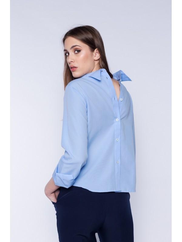 Camasa bleu cu nasturi la spate bumbac - Designeri Romani  - The ITem