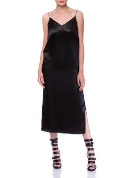 Slip dress neagra - rochie furou midi   - CLOCHE