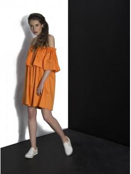 Rochie portocalie bumbac - volane si umeri goi - designeri romani
