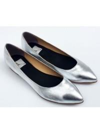 balerini argintii  - piele naturala - Giuka