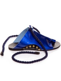 Papuci piele albastru metalizat - piele naturala - Joyas
