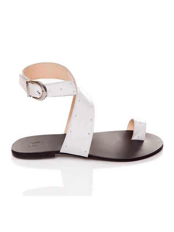 Sandale piele negre fara toc     - piele naturala - Joyas