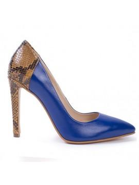 Pantofi stiletto albastri cu toc - piele naturala - Joyas