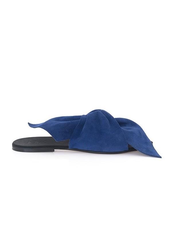 Saboti piele albastra fara toc - piele naturala - Joyas