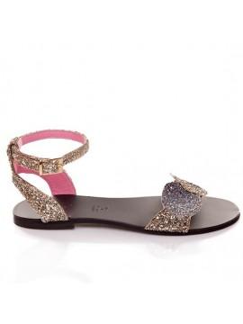 Sandale piele sclipici fara toc - piele naturala - Joyas