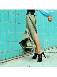 Sandale negre din piele naturala cu taietura laser  - Bianca Georgescu