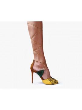 Sandale din piele naturala maron cu taietura laser - Bianca Georgescu