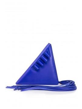 Geanta piele naturala albastra triunghi - designeri romani
