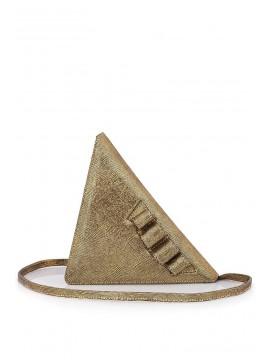Geanta piele naturala aurie triunghi - designeri romani
