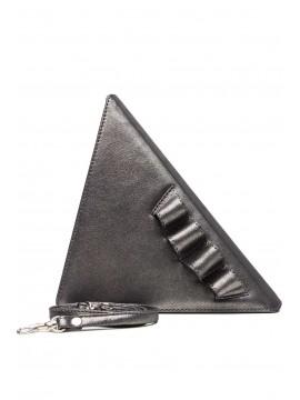Geanta piele naturala argintie triunghi - designeri romani