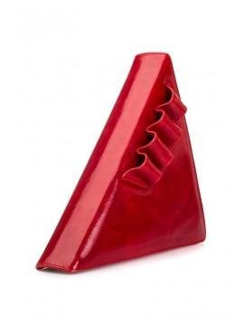 Geanta piele naturala rosie triunghi - designeri romani