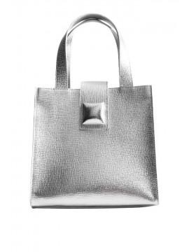 Geanta shopper piele naturala argintie - designeri romani