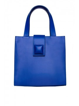 Geanta shopper piele naturala albastra - designeri romani