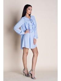 Rochie mini bleu cu volane  - designeri romani