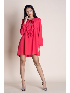 Rochie mini rosie cu volane  - designeri romani
