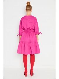 Rochie cu volane din bumbac roz   - Framboise - designeri romani