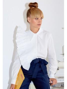 Camasa  alba  cu jabou plisat - Framboise - designeri romani