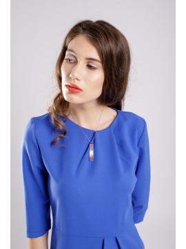 ROCHIE CONICA CU PLIURI BLUE DRESS