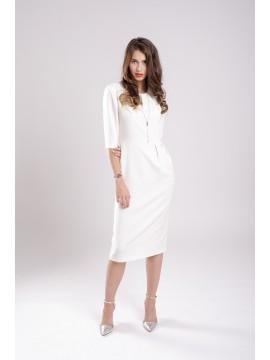 ROCHIE CONICA CU PLIURI WHITE DRESS