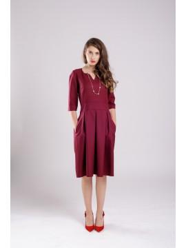 ROCHIE CU PLIURI BURGUNDY DRESS