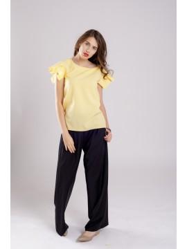 Bluza cu maneca plisata din bumbac Yellow Fantasy