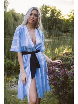 Kimono de vara alb bleu  - designeri romani