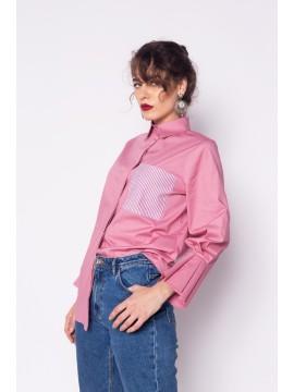 Camasa roz cu croiala masculina - designeri romani