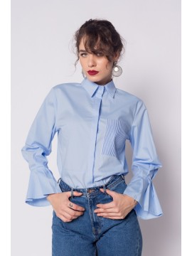 Camasa bleu cu croiala masculina  - designeri romani