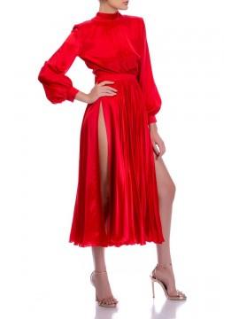 Rochie rosie din matase cu funda si crapatura