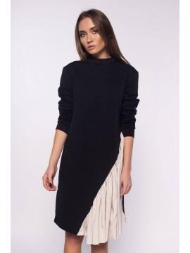 Rochie neagra cu insertie de matase  - Designeri Romani  - The ITem