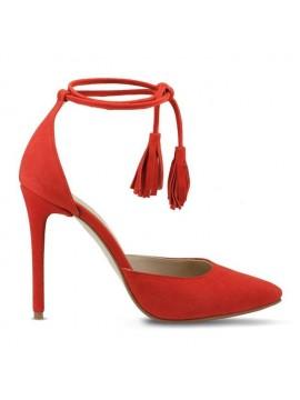 Pantofi rosii stiletto piele intoarsa - designeri romani