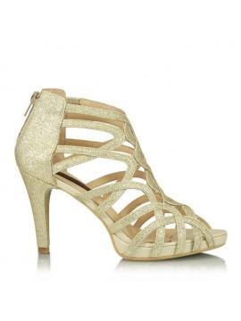 Sandale piele naturala glitter auriu - designeri romani