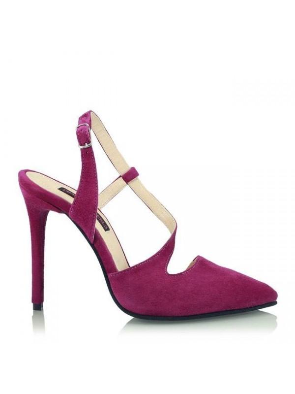 Pantofi stiletto piele intoarsa mov - designeri romani