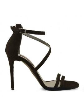 Sandale piele naturala intoarsa negre - designeri romani