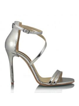 Sandale piele naturala intoarsa argintii - designeri romani