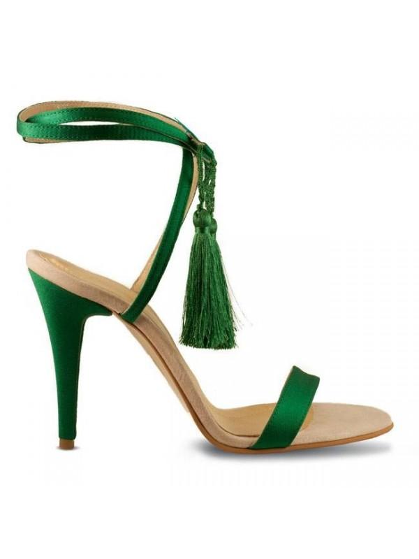 Sandale piele naturala verde smarald - designeri romani