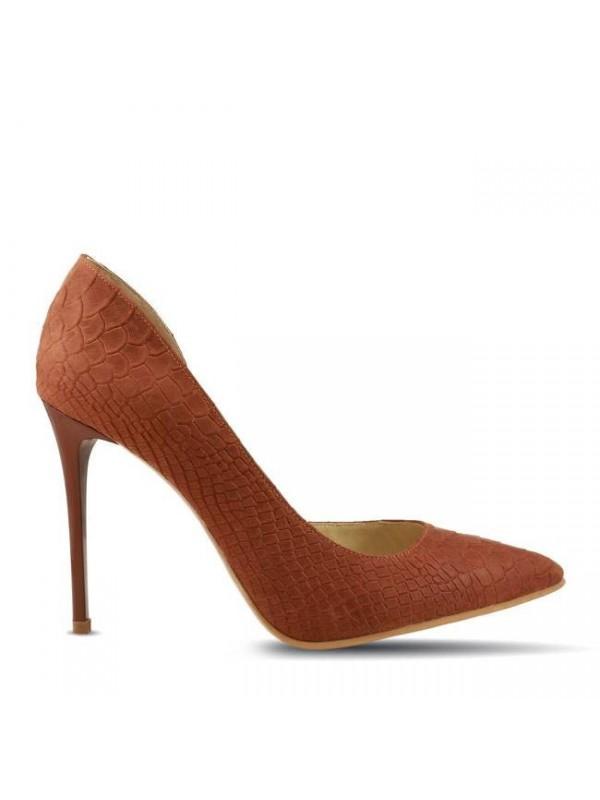 Pantofi stiletto  maron presaj croco - designeri romani