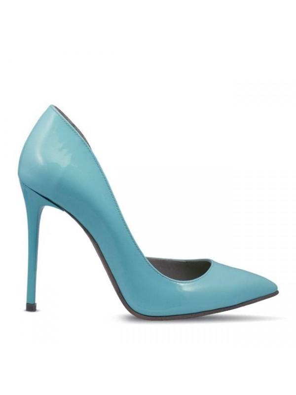 Pantofi stiletto piele naturala lacuita bleu  - designeri romani