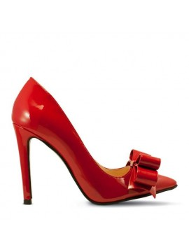 Pantofi stiletto piele naturala rosie cu funda - designeri romani