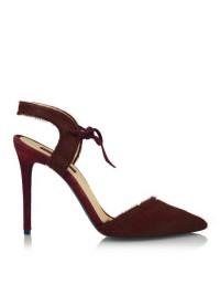 Pantofi stiletto piele naturala grena - designeri romani