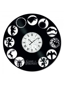 Ceas de perete Vintage din Vinil Game of Thrones Symbols