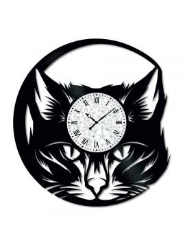 Ceas de perete Vintage din Vinil Cat