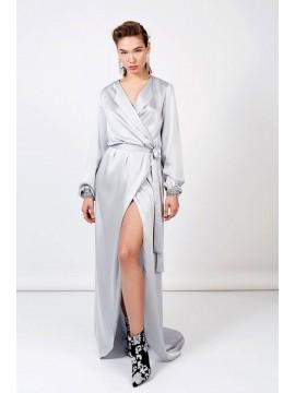 Rochie argintie din mătase, lunga, cu trena  - Ingrid Teodosiu